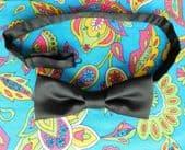 Black satin English bow tie classic mens evening dress pre-tied ready tie DA
